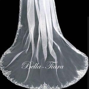 Elegant  beaded cathedral ivory wedding veil